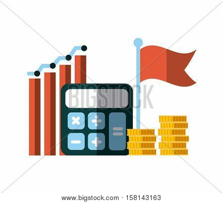 calculator device with gold coins and graphic chart over white background. invest money and business concept. colorful design. vector illustration