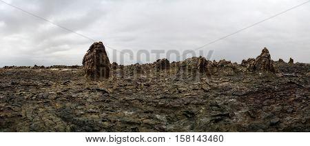 Salt Lake Karum aka Lake Assale or Asalem at Dallol volcano Afar Ethiopia