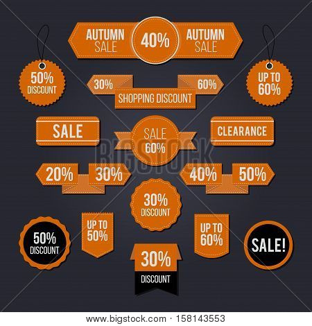 Autumn sale tag set for commercial use and mainly for the Black Friday period