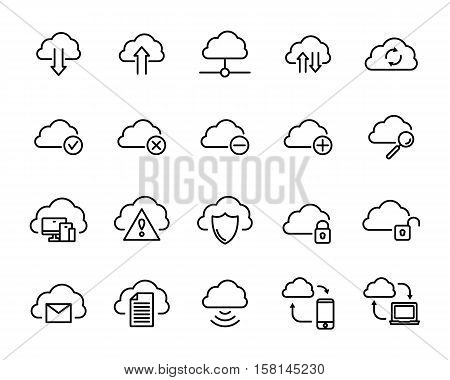 Set of computer cloud icons in modern thin line style. High quality black outline sync symbols for web site design and mobile apps. Simple linear sharing pictograms on a white background.