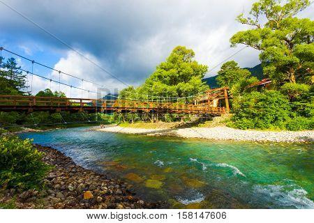 Kamikochi Kappa Bashi Bridge Dramatic Light Shade