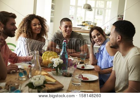 Young adult friends at a table talking over lunch at home