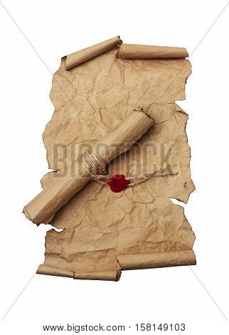 Ancient scrolls isolated on a white background