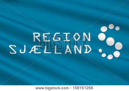 Flag of Zealand Region is the southernmost administrative region of Denmark. 3d illustration