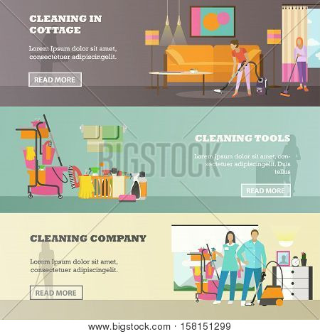 Vector set of cleaning service concept horizontal banners in flat style. Cleaning company, Cleaning in cottage and cleaning tools design elements.