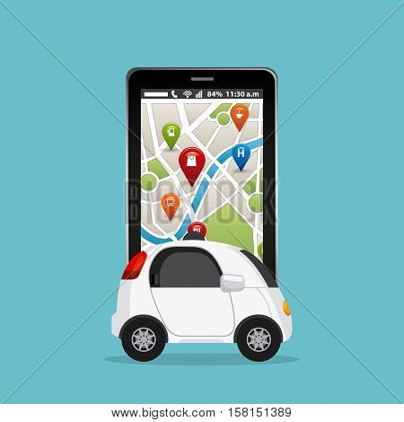 autonomous car vehicle and smartphone device with city map on screen over blue background. ecology,  smart and techonology concept. vector illustration