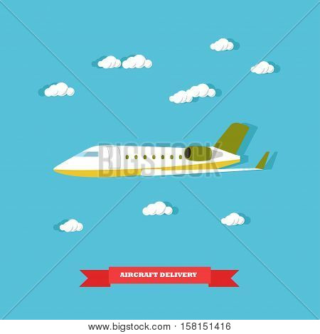 Aircraft delivery concept vector illustration in flat style. Delivery by plane. Logistics transportation.