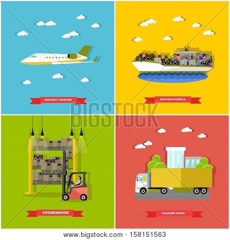 Vector set of delivery vehicle concept design elements in flat style. Delivery by plane, by ship, by truck. Removal of goods from warehouse by forklift. Logistics transportation.