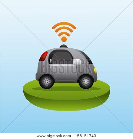 autonomous car vehicle with wireless waves over blue background. ecology,  smart and techonology concept. vector illustration
