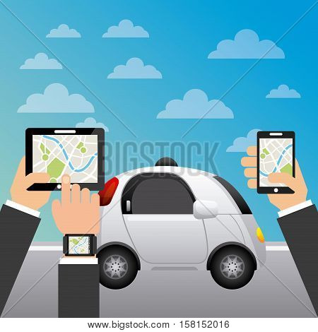 autonomous car vehicle and hands holding a smartphone and tablet with city map on screen. ecology,  smart and techonology concept. colorful design.  vector illustration