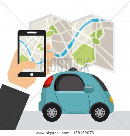 autonomous car vehicle and hand holding a smartphone with city map on screen. ecology,  smart and techonology concept. colorful design.  vector illustration