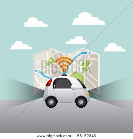 autonomous car vehicle with wireless waves over city map background. ecology,  smart and techonology concept. vector illustration