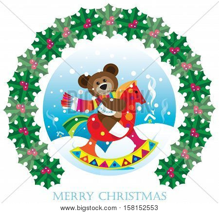 Christmas greeting card with teddy bear sitting on a rocking horse