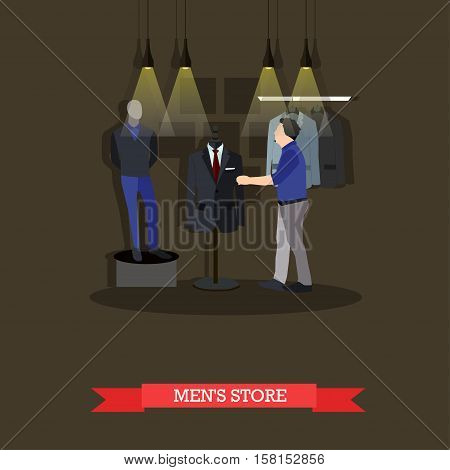 Vector illustration of fashion mens store interior in flat style. Man is going to do shopping. Mannequin in casual clothes.