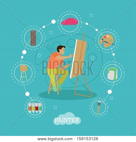 Vector set of painting infographic items, icons in flat style. Painter is working on his easel picture.