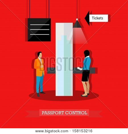 Vector illustration of passenger passing passport control at the airport in flat style. Airport security checkpoint.