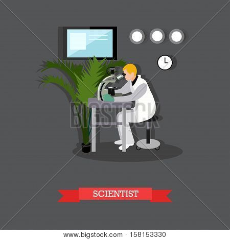 Vector illustration of scientist looking through microscope in flat style. Laboratory interior and equipment. Scientific research concept design element.
