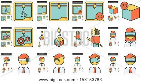 Virtual reality and 3D technology vector line icon set isolated on white background. Virtual reality and 3D tech line icon set for infographic, website or app. Scalable icon designed on a grid system.