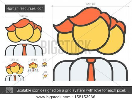 Human resources vector line icon isolated on white background. Human resources line icon for infographic, website or app. Scalable icon designed on a grid system.