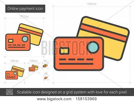 Online payment vector line icon isolated on white background. Online payment line icon for infographic, website or app. Scalable icon designed on a grid system.