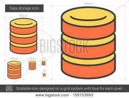 Data storage vector line icon isolated on white background. Data storage line icon for infographic, website or app. Scalable icon designed on a grid system.