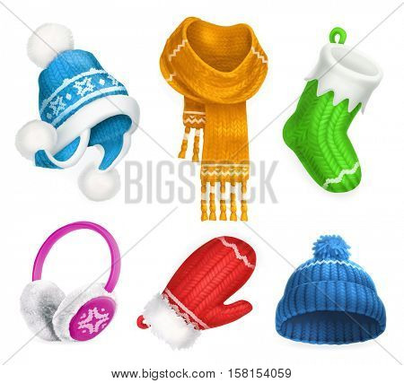 Winter clothes. Knitted hat. Christmas sock. Scarf. Mitten. Earmuffs. 3d vector icon set