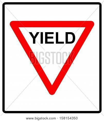 Vector illustration of a yield road sign. Stop symbol for trafiic road isolated on white, red triangle with YIELD text