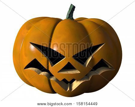 Image of a grim Halloween pumpkin. The object is on a white background. 3D Rendering.
