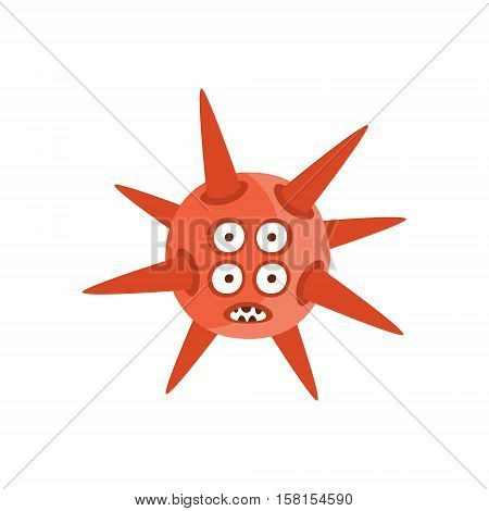 Red Spiky Aggressive Malignant Bacteria Monster With Sharp Teeth And Four Eyes Cartoon Vector Illustration. Colorful Alien Virus Microorganism Unfriendly Character Flat Drawing.