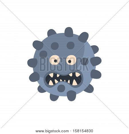 Blue Ball With Pimples Aggressive Malignant Bacteria Monster With Sharp Teeth Cartoon Vector Illustration. Colorful Alien Virus Microorganism Unfriendly Character Flat Drawing.