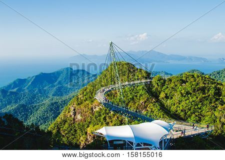 Photo of the Breathtaking landscape with cable-stayed bridge symbol Langkawi Malaysia. Adventure holiday. Modern technology. Tourist attraction. Travel concept.