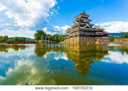 Matsumoto Castle Keep Sky Reflection Moat Water H