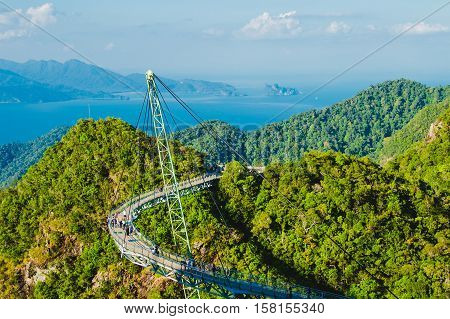 Photo of the Breathtaking aerial landscape with Sky bridge symbol Langkawi Malaysia. Adventure holiday. Modern technology. Tourist attraction. Travel concept. Andaman sea backgroun