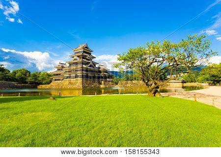 Matsumoto Castle Park Grass Moat Copy Space H