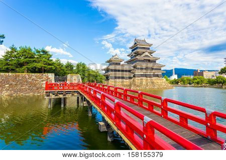 Matsumoto Castle Red Bridge Moat Foreground H