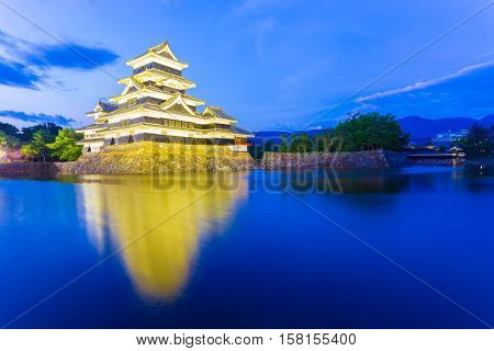 Matsumoto Castle Distant Entrance Night Lights