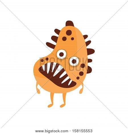 Orange Aggressive Malignant Bacteria Monster With Brown Spots And Sharp Teeth Cartoon Vector Illustration. Colorful Alien Virus Microorganism Unfriendly Character Flat Drawing.