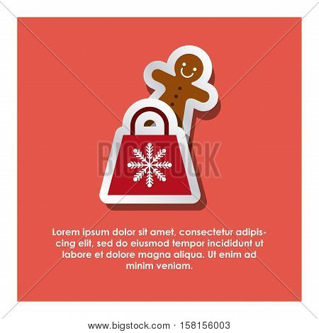 red shopping bag and ginger cookie over reb background. merry christmas design. vector illustration