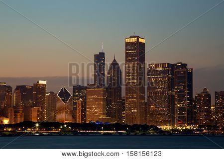 Chicago Skyline over Michigan Lake at Dusk