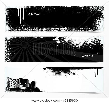 Set of black and white banners.