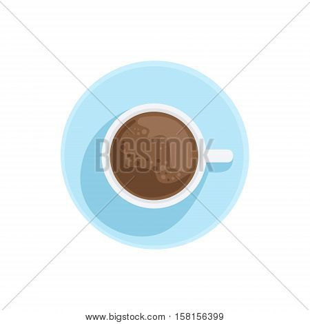 White China Cup With Black Coffee Standing On The Plate Illustration. Hot Drink Served In White Mug Standing On Plate From Above Vector Drawing.