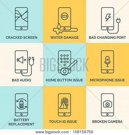 Broken mobile phone, tablet. Cracked screen. Repair electronic equipment. Electronic technology. Repair cellphone. Touch screen