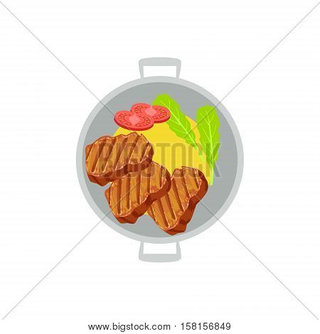 Grilled Beef Steaks With Side Of Mashed Potatoes And Fresh Tomato Vector Illustration Of Food Cooked On Grill Cafe Menu Dish. Part Of Grill Restaurant Set Of Cartoon Drawings With Ready Meals And Their Cooking Process.