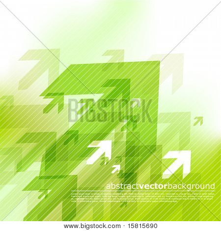 Abstract green background with arrows.
