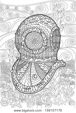 Antique divers helmet hand draw with high details. Coloring pages for adult in zenart technique. Underwater seascape for relax coloring for grown ups. Vector illustration