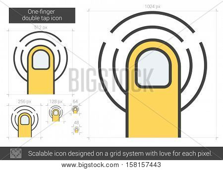 One-finger double tap vector line icon isolated on white background. One-finger double tap line icon for infographic, website or app. Scalable icon designed on a grid system.