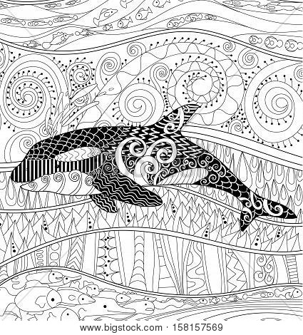 Killer whale with high details. Adult antistress coloring page with orca. Black white animal for art therapy. Abstract pattern with oceanic elements for relax coloring for grown ups in zentangle style