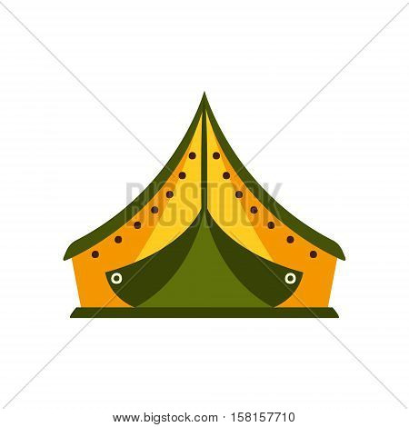 Yellow And Green Tarpaulin Tent In Camp, Camping And Hiking Outdoor Tourism Related Item Isolated Vector Illustration. Part Of Forest Touristic Adventures Objects Collection In Cute Flat Design.
