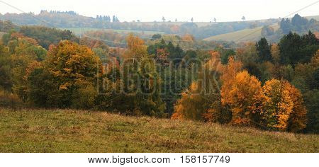 Beautiful autumn panoramatic shot in the sudety