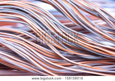 Swirl of Electric Cables and Wires Closeup